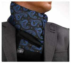 New Mens Double Side Scarf Silk Wool Blend Black with Blue Paisley Design