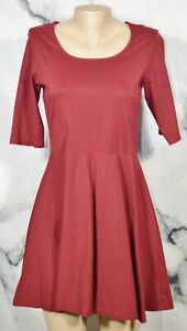 MISS CHASE Maroon Skater Dress Large Half Sleeve 100% Unlined Cotton Summer
