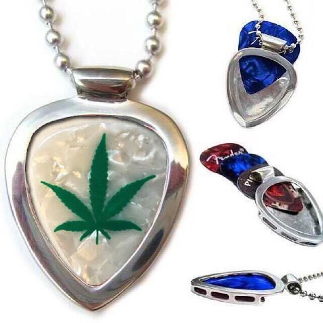Pickbay GUITAR PICK HOLDER Stainless STEEL PENDANT Holds Picks + Cannabis Pick