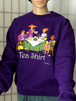 Red Hat Society Ladies Purple Tea Shirt Sweatshirt Size Small Long Sleeve