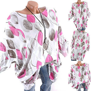Womens-Plus-Size-Long-Sleeve-Floral-T-Shirt-Loose-Pocket-Tunic-Bloues-Casual-Top