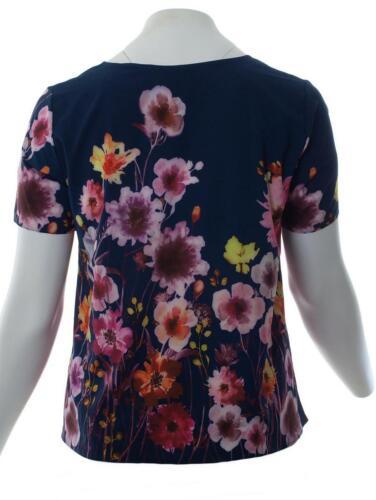 Karin Hertz Damen T-Shirt mit buntem Blumen-Muster große Größen