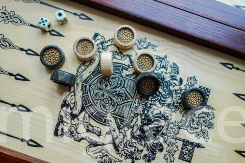 Coat of Arm Dynasty 2 Handmade Leather decorated PREMIUM 20in BACKGAMMON board