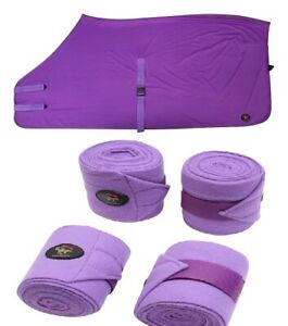 Crystal-Ace-Equestrian-Horse-Stretch-Lycra-Rug-Suit-Purple-Bandage-Leg-Wrap