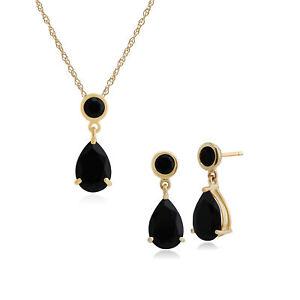 Fine Jewelry Self-Conscious Gemondo 9 Karat Gelbgold Schwarzer Onyx Ohrhänger & 45cm Halskette Set