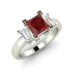 06ed540e35197 Details about Three Stone Engagement Ring with 0.97 Cttw Garnet In Solid  14k White Gold
