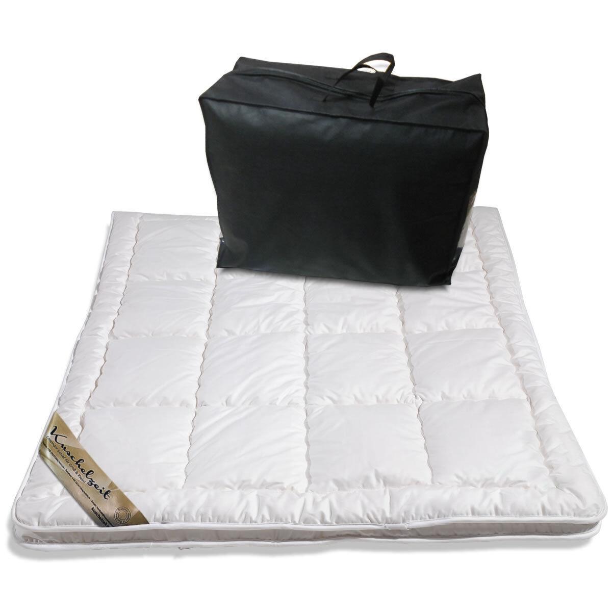 Merino Schaf-Schurwoll Unterbett Matratzenauflage Baumwollbezug waschbar Auflage