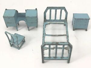 Details about TOOTSIETOY 1920s BLUE BEDROOM SET 4pcs Assorted DOLLHOUSE  Miniature Furniture