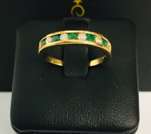 9CT-YELLOW-GOLD-EMERALD-amp-DIAMOND-HALF-ETERNITY-STYLE-RING