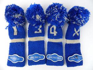 Set-4-VIntage-Blue-Pom-Pom-Knit-Golf-Head-Covers-1-3-5-X-Quail-Ridge