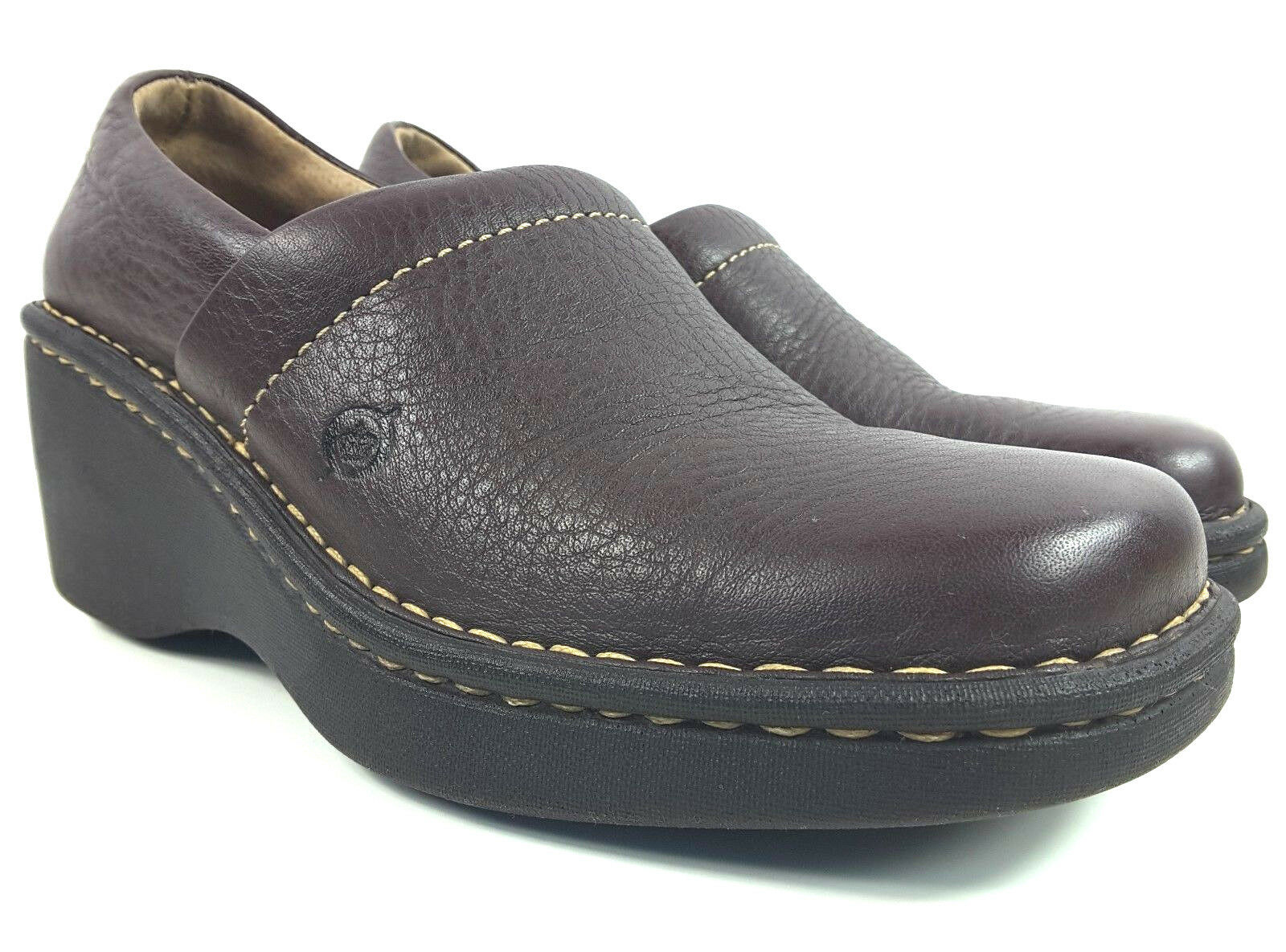 Born Boc Women's Brown Pebbled Leather Clogs Comfort shoes Size 6