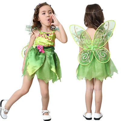 Girls Licensed Disney Tinker Bell Tinkerbell Costume Kids Fancy Dress With WINGS