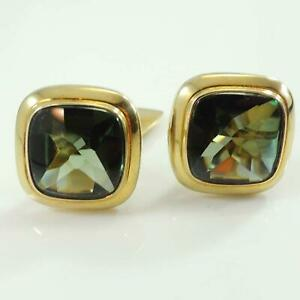 8-Carat-Gold-Green-Tourmaline-Articulated-Cufflinks-1960s-onwards