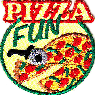 """""""PIZZA FUN"""" - Iron On Embroidered Applique/Food,Entertainment, Show, Movies"""
