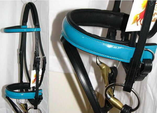 FSS PATENT Leather TURQUOISE AQUA  GLOSS Comfort Padded Poll Dressage Bridle Rein  happy shopping