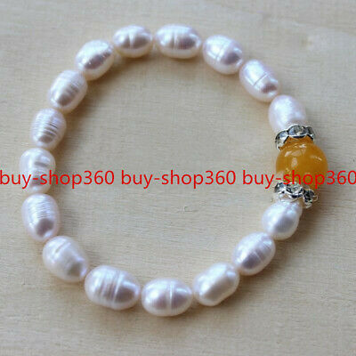 Handmade 8MM Natural Blue Jadeite Jade Gemstone Beads Bangle Bracelet 7.5/'/' AAA