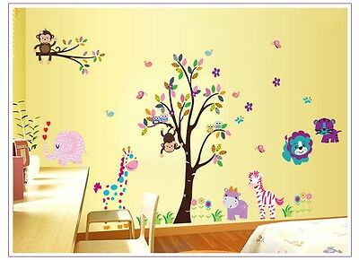 Cute Animals Monkey Branch Removable Kids Wall Sticker Vinyl Decal Nursery Decor