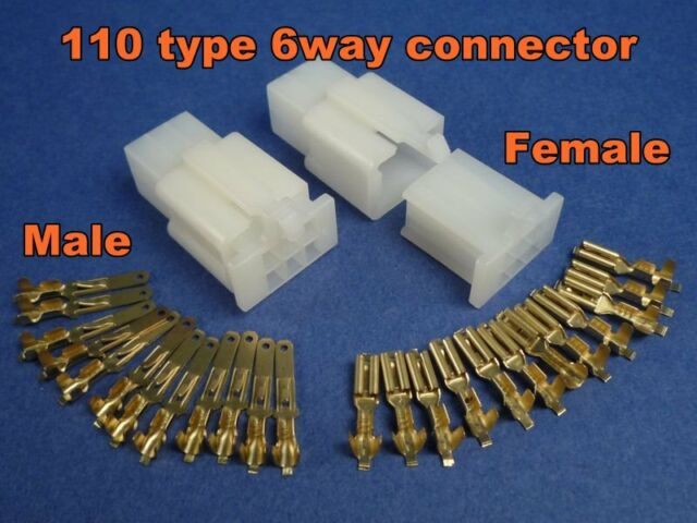 6 pins electrical wire connector terminal wiring motorcycle atv 1 kit plug # 110