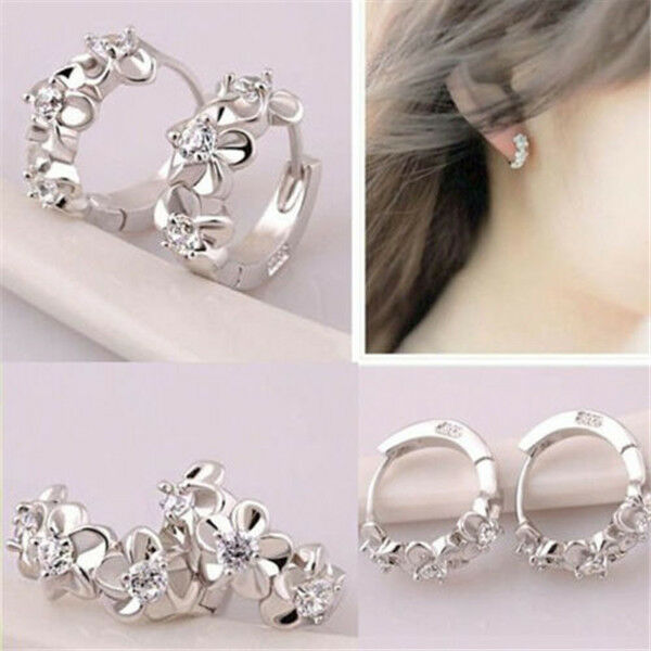 New Top Fashion Women Silver Flower Crystal Rhinestone Stud Hoop Earrings