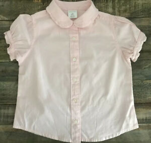 CREW-CUTS-Darling-Pink-Peter-Pan-Collar-Ruffle-Sleeved-Blouse-Sz-3