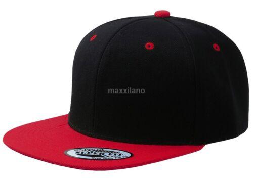 Baseball Cap Plain Two Tone Snapback Adjustable One Size Hat New Flat Bill Black