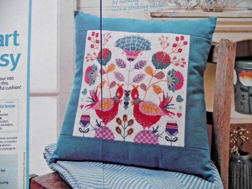 FOLK Art Birds vivace astratto Campionatore//Cuscino cross stitch chart