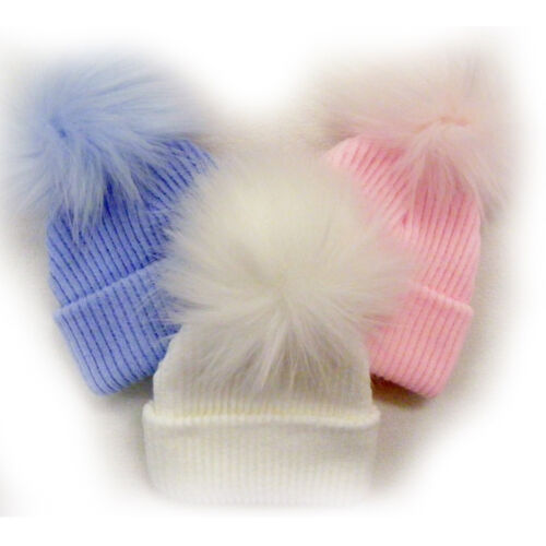 NEWBORN BABY GIRL BOY FAUX FUR BOBBLE POM POM KNITTED HAT PINK WHITE HATS GIFT