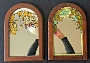 ART NOUVEAU PAIRE DE MIROIRS VITRAIL FLORAL- Couple of Art Nouveau mirrors