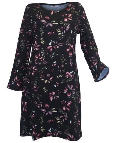 ZABAIONE Kleid Gr L 40 schwarz bunt bedruckt Blumen Jerseykleid langarm neu