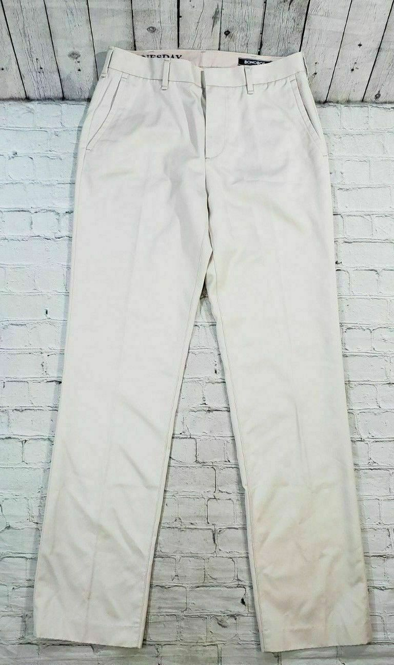 Bonobos Wednesday Straight Fit Flat Front Beige Pants Men's Size 29x32