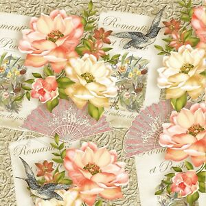 4 Paper Napkins for Decoupage 33 x 33cm 4 Individual Napkins for Craft and Napkin Art. 3-ply Oriental Luncheon Napkins
