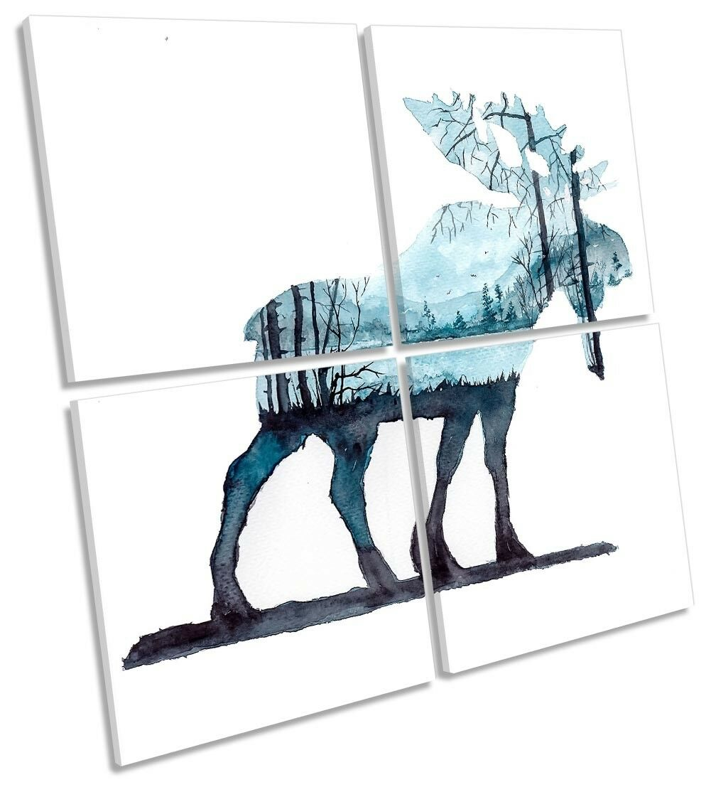 Stag Deer Abstract Landscape Framed MULTI CANVAS PRINT Art Square Square Square 066564