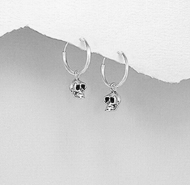 Silver Hoop Earrings 925 Sterling Small Gothic Skull Design Size 20mm X 12mm