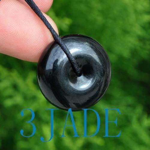"1/"" Naturel Noir Jade Jade DONUT PENDENTIF//PERLE Certifié"