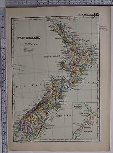 1891 Antik Karte ~ Neu Zealnd North & South Island Cook Gummistiefel Napier