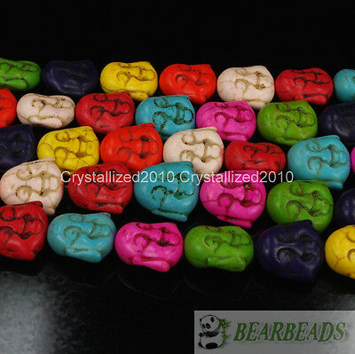 """Mixed Color Howlite Turquoise Gemstone Happy Face Buddha Head Loose Beads 15.5"""""""