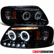 For 1997 2003 Ford F150 Expedition Black Smoke Led Halo Projector Headlights Fits 1997 Ford F 150