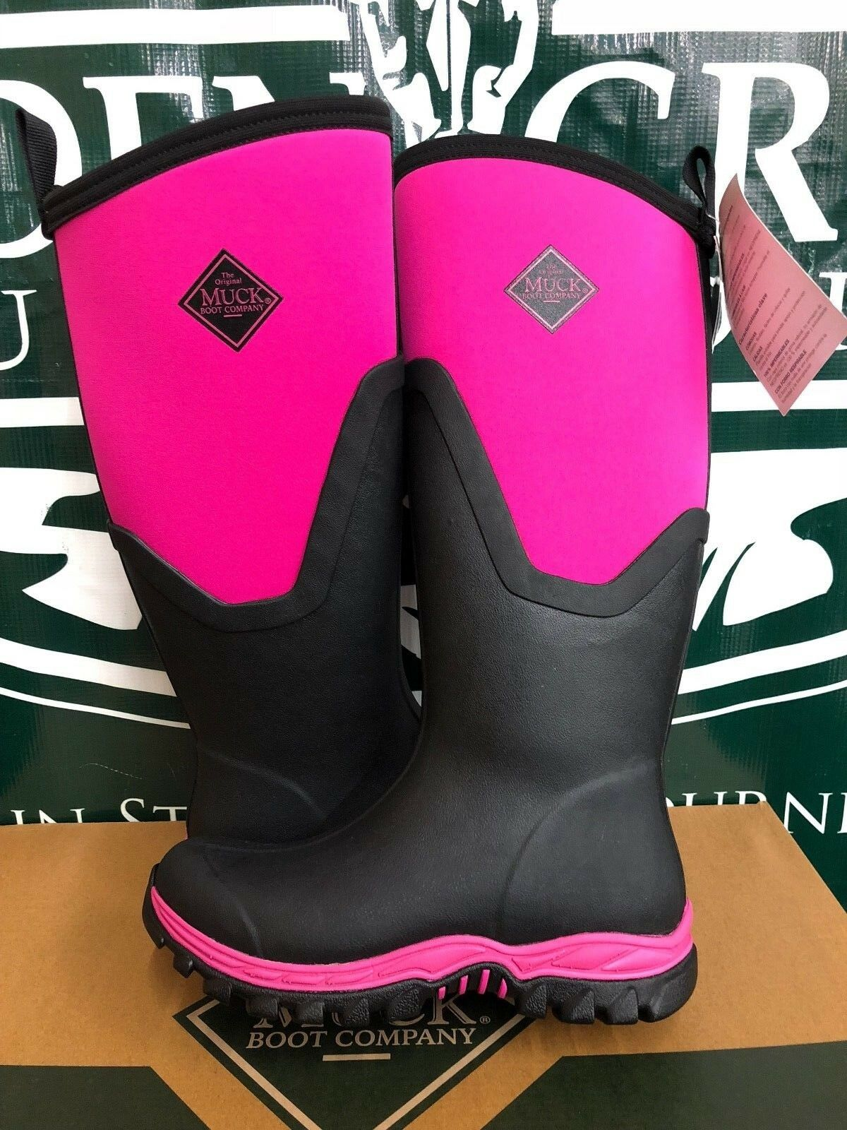 Muck Boot Co. Arctic Sport II Tall Black Hot Pink Women Sizes AS2T-400 BRAND NEW