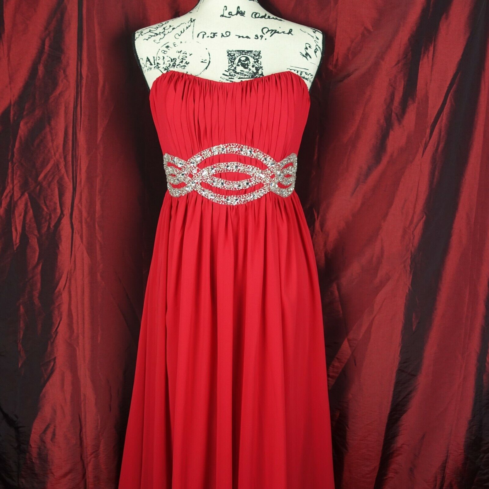 Lafee Red Silver Beaded Pageant Prom Sweet Heart Strapless Ruched Long Dress 6