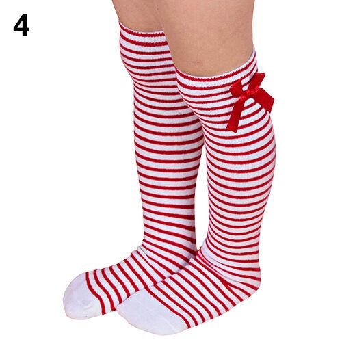 Girls Soft Cotton Knee Socks Kids Children Baby Bowknot Striped Leg Warmers
