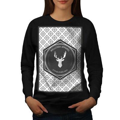 2019 Neuer Stil Wellcoda Wellcoda Deer Womens Sweatshirt, Nonagon Casual Pullover Jumper Erfrischend Und Wohltuend FüR Die Augen