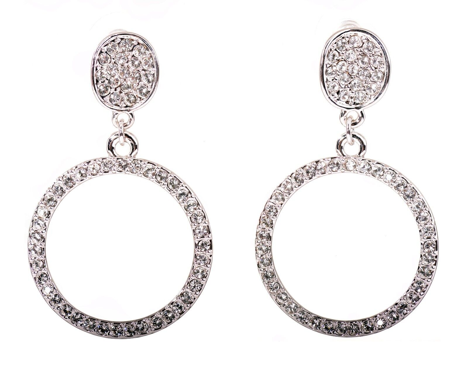 Swarovski Element Crystal Circle Drop Earrings Rhodium Plated Authentic 7959z
