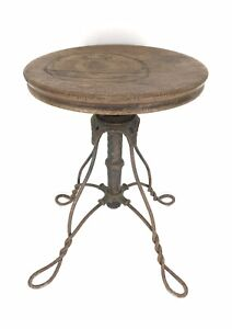 Antique-Victorian-Piano-Stool-W-Twisted-Wrought-Iron-Legs-Oak-Seat