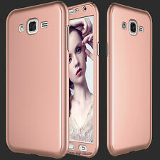 For Samsung Galaxy J7/J700 360° Full Protection Hard Case Cover + Tempered Glass