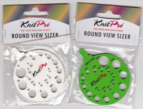 Knit pro Nadelmaß in mm und US size in grün oder weiß
