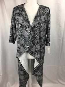 Nuovo-con-etichette-lularoe-Medium-Nero-Bianco-a-Fiori-Shirley-Kimono-drappo-cardigan