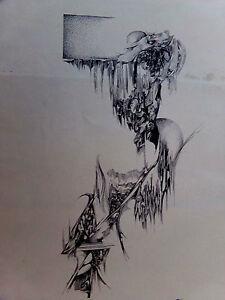 ENCRE DE CHINE-ABSTRAIT-DESSIN-MODERNISTE-CONTEMPORAIN-MODERNE-ART ...