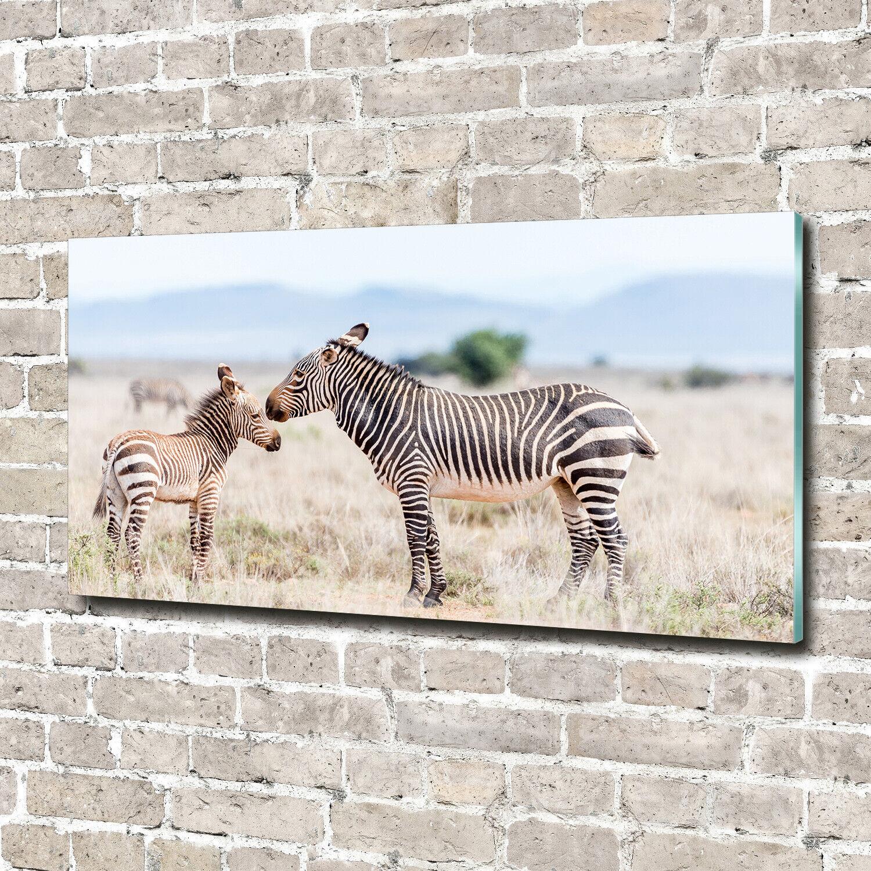 Wandbild aus Plexiglas® Druck auf Acryl 140x70 Tiere Zebras Berge