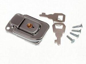 100-X-Kofferschloss-Verschluss-Knebelknopf-Trunk-Fang-amp-2-Schluessel-48Mm-33Mm-CP