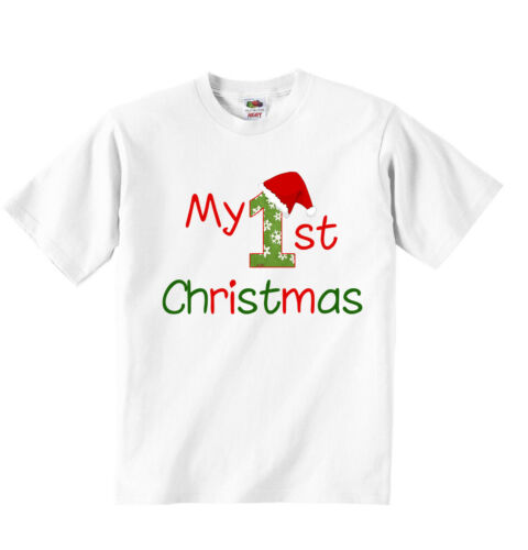 My First Christmas Personalized Unisex T-shirt Tees Clothing Boys Girls White